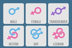 Sexual orientation color icons set
