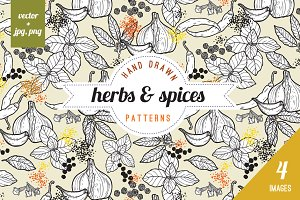 seamless spices & herbs patterns