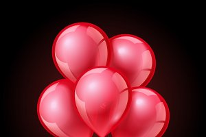 Festive red balloons