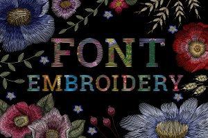 Font flower embroidery