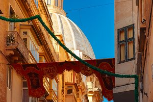 Decorated street in old town of Valletta, Malta
