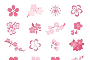 Blossom japanese sakura icon set
