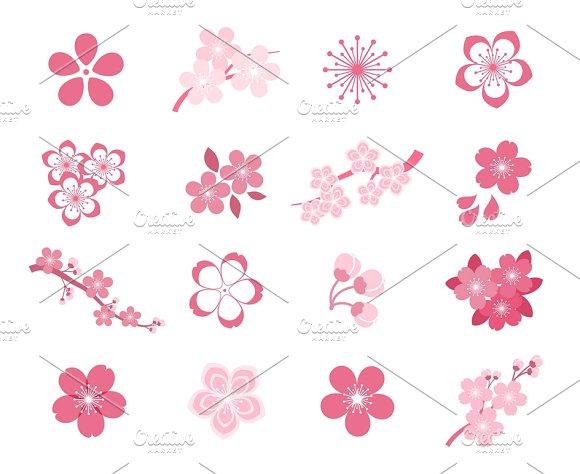 Blossom Japanese Sakura Icon Set