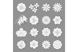 Vector paper flowers set. 3d origami abstract flower icons illustration