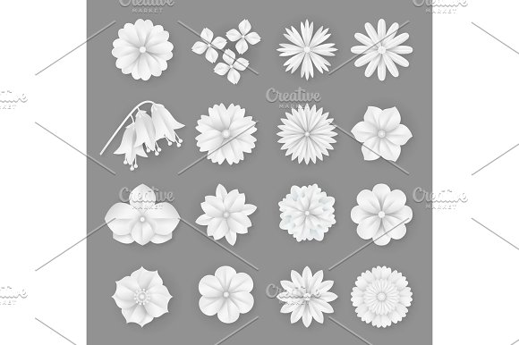 Vector Paper Flowers Set 3D Origami Abstract Flower Icons Illustration