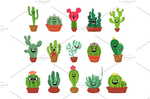 Big Set Of Cute Cartoon Cactus And Succulents With Funny Faces Cute Stickers Or Patches Or Pins Collection Plants Are Friends Set.Funny And Cute Cartoon Desert Cactus In Pots Vector Set