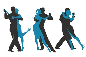 Three couples dancing tango