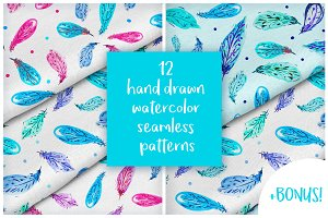 12 watercolor feathers patterns