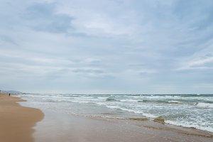 Cloudy summer beach