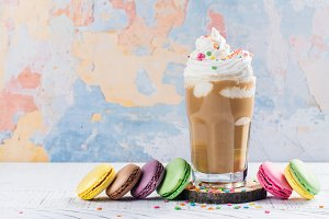 Crazy coffee cocktail and macaroons