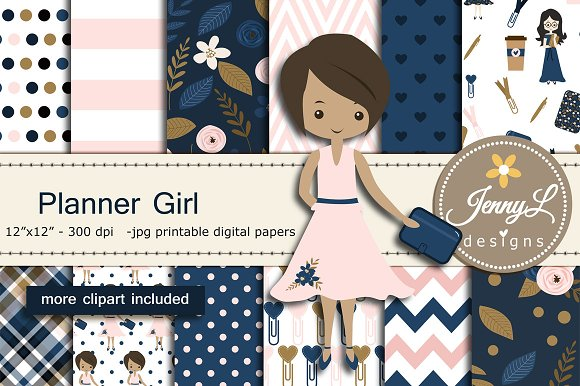 Planner Girl Digital Papers Clipart