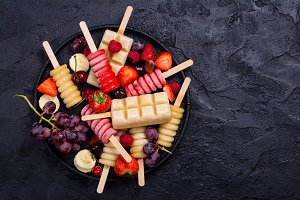 Bright fruit and berry ice pops