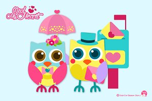 Digital Clipart Owl My Heart