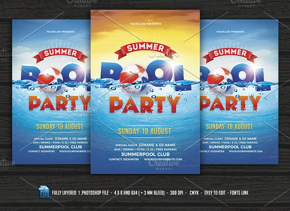 pool party beach party flyer flyer templates creative market