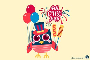 Digital Clipart  4th OWL July
