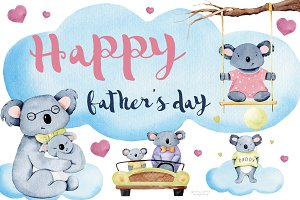 Watercolor Father's Day clip art