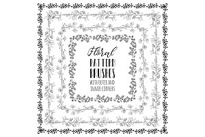 Vector Floral Pattern Brushes with Herbs, Plants and Flowers