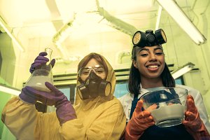 women holding bowl with reagents