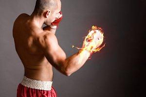 Fire hitting boxer