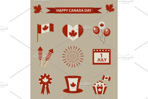 Happy Canada Day Icon Set Design Elements Vintage Style July 1 National Day Of Canada Holiday Collection Of Objects With Firework Flag Hat Balloons Emblem Vector Illustration