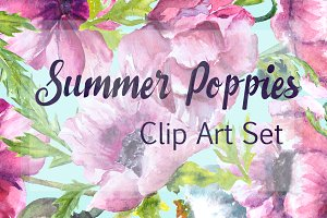 Watercolor Summer Poppies Clip Art