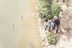 Senior Couple Looking At Ducks Swimming In Neckar River