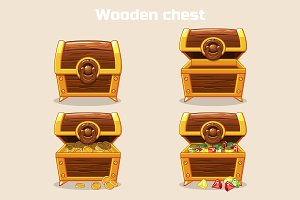 Opened and closed treasure chest