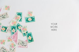 Floral Vintage Stamps Lay Flat