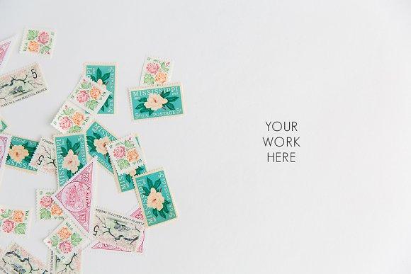 Floral Vintage Stamps Lay Flat