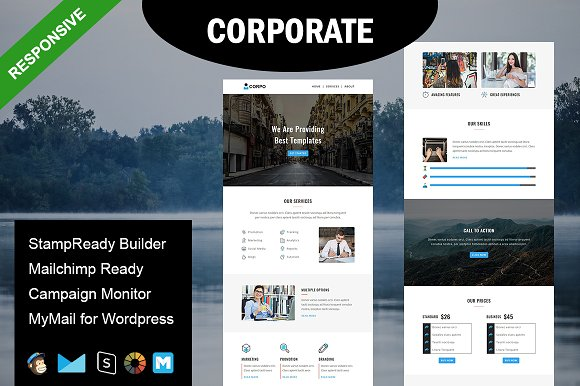 CORPORATE- Responsive Email Template ~ Email Templates ~ Creative ...