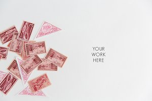 Red & Pink Vintage Stamp Lay Flat