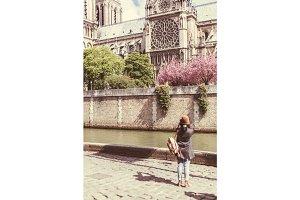 Young Female Tourist Enjoying Her Trip To Paris