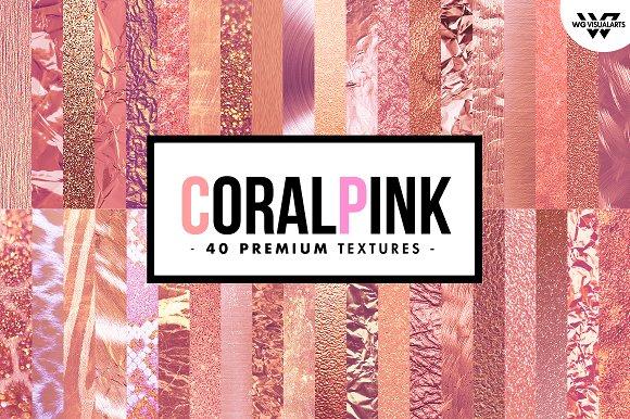 40 Premim CORAL PINK Textures
