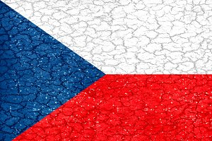 Czech Grunge Style National Flag