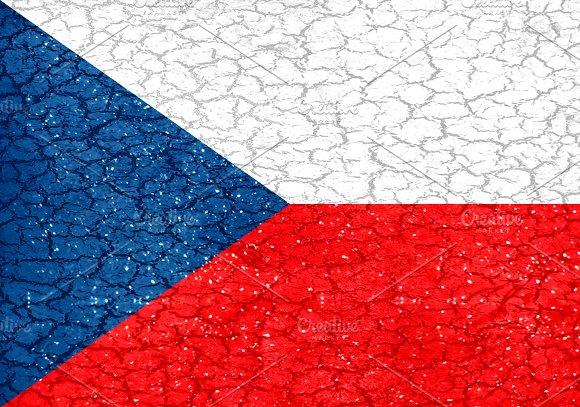 Czech Grunge Style National Flag