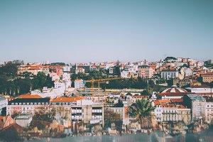 Lisbon cityscape on sunny day