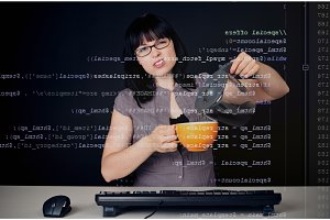 Young Woman Analyzing Php Code