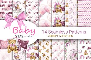Baby Girl Watercolor Paper Pack