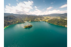 Aerial View Of Lake Bled, Slovenia