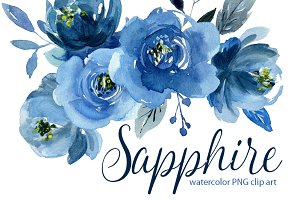 Watercolor indigo blue flowers roses