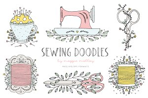 Hand Drawn Sewing Doodle Clip Art