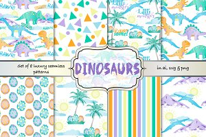 Dinosaur seamless vector pattern set