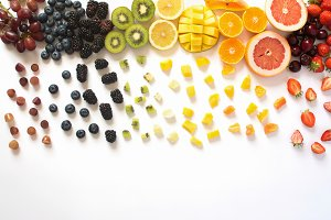 Top view of fruits in raibow colours