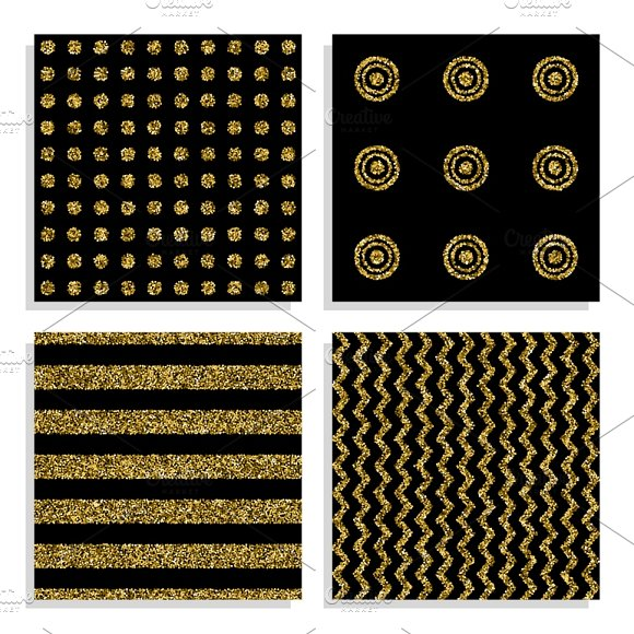 Seamless Patterns With Gold Dots