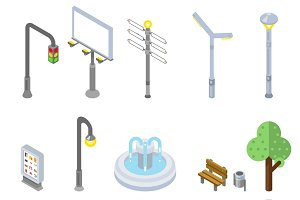 Isometric city street icons