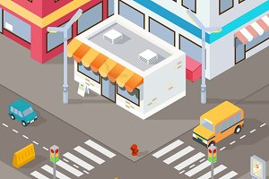 Isometric street illustration