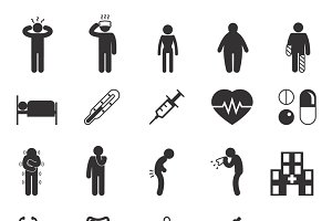 Sick people vector pictograms