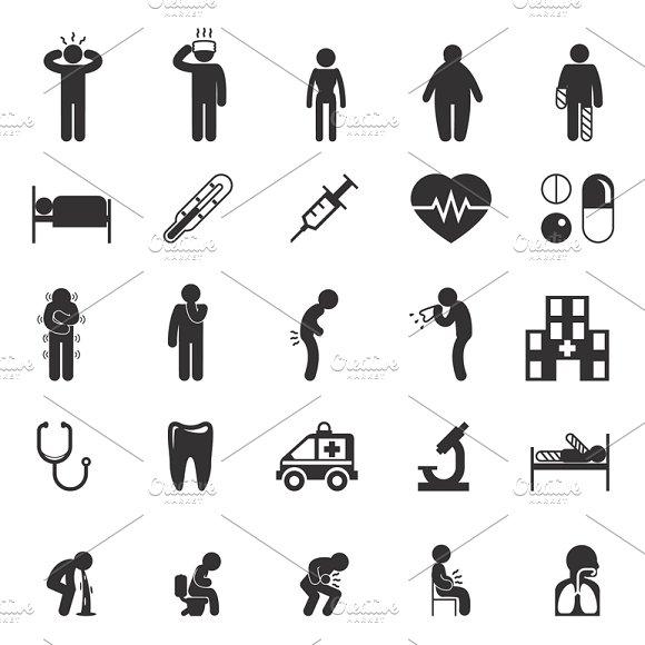 Sick People Vector Pictograms
