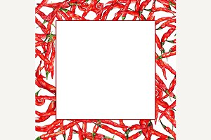 Watercolor chili pepper frame border