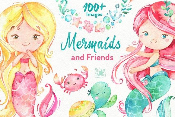mermaids friends underwater world illustrations creative market